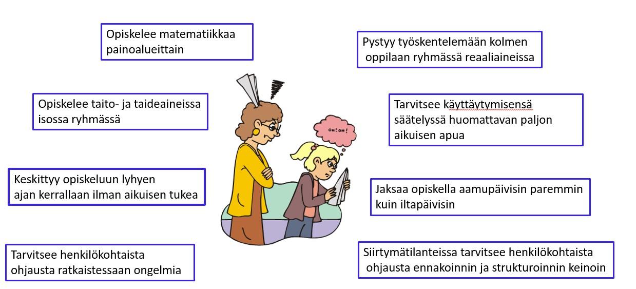 Kuvassa tuodaan esille esimerkkioppilaan  koulunkäyntiin vaikuttavia asioita: pystyy työskentelemään kolmen oppilaan ryhmässä reaaliaineissa, tarvitsee käyttäytymisensä säätelyssä huomattavan paljon aikuisen apua, jaksaa opiskella aamupäivisin paremmin kuin iltapäivisin, siirtymätilanteissa tarvitsee henkilökohtaista ohjausta ennakoinnin ja strukturoinnin keinoin, tarvitsee henkilökohtaista ohjausta ratkaistessaan ongelmia, keskittyy opiskeluun lyhyen ajan kerrallaan ilman aikuisen tukea, opiskelee taito- ja taideaineissa isossa ryhmässä, opiskelee matematiikkaa painoalueittain.