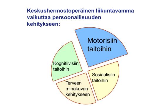 Kuvassa on persoonallisuuden kehityksen neljä osa-aluetta: motoriset taidot, kognitiiviset taidot, sosiaaliset taidot ja terveen minäkuvan kehitys.