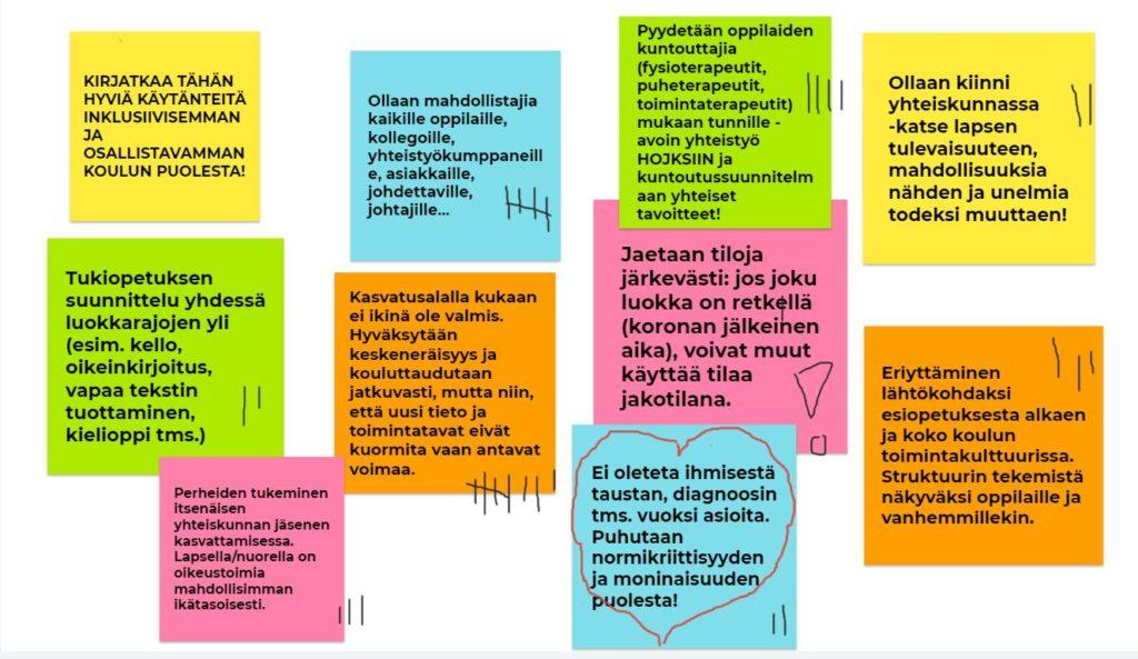 """""""Kuvassa on esimerkkejä kuvitteellisesta pienryhmäkeskustelun kirjauksista: 1. Kirjatkaa tähän hyviä käytänteitä inklusiivisemman ja osallistavamman koulun puolesta. 2. Tukiopetuksen suunnittelu yhdessä luokkarajojen yli (esim. kello, oikeinkirjoitus, vapaa tekstin tuottaminen, kielioppi tms.) 3. Perheiden tukeminen itsenäisen yhteiskunnan jäsenenä kasvattamisessa. Lapsella/nuorella on oikeus toimia mahdollisimman ikätasoisesti. 4. Ollaan mahdollistajia kaikille oppilaille, kollegoille, yhteistyökumppaneille, asiakkaille, johdettaville, johtajille… 5. Kasvatusalalla kukaan ei ikinä ole valmis. Hyväksytään keskeneräisyys ja kouluttaudutaan jatkuvasti, mutta niin, että uusi tieto ja toimintatavat eivät kuormita vaan antavat voimaa. 6. Pyydetään oppilaiden kuntouttajia (fysioterapeutit, puheterapeutit, toimintaterapeutit) mukaan tunnille - avoin yhteistyö HOJKSIIN ja kuntoutussuunnitelmaan yhteiset tavoitteet! 7. Jaetaan tiloja järkevästi: jos joku luokka on retkellä (koronan jälkeinen aika), voivat muut käyttää tilaa jakotilana. 8. Ei oleteta ihmisestä taustan, diagnoosin tms. vuoksi asioita. Puhutaan normikriittisyyden ja moninaisuuden puolesta. 9. Ollaan kiinni yhteiskunnassa - katse lapsen tulevaisuuteen, mahdollisuuksia nähden ja unelmia todeksi muuttaen. 10. Eriyttäminen lähtökohdaksi esiopetuksesta alkaen ja koko koulun toimintakulttuurissa. Struktuurin tekemistä näkyväksi oppilaille ja vanhemmillekin""""."""