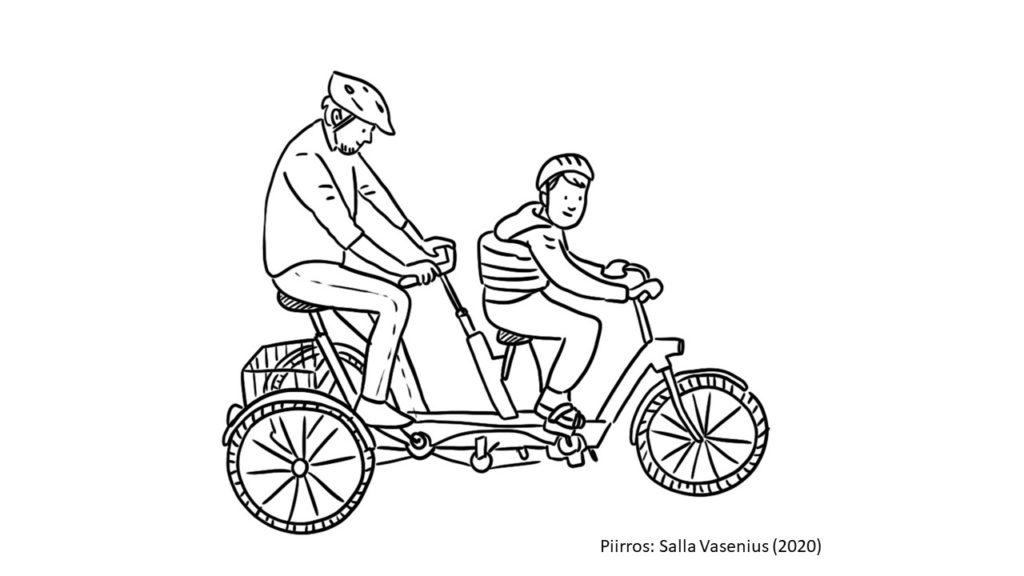 """""""Kuvassa lapsi ja aikuinen pyöräilevät yhdessä kolmipyöräisellä tandempyörällä kypärät päässään. Lapsella on tukivyö kannattelemassa keskivartaloa."""""""