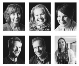 Kuvassa on kuusi henkilöä, kolme kuvaa ylärivissä ja kolme kuvaa alarivissä. Henkilöistä viisi on Valterin ohjaavaa opettajaa, jotka vastaavat Oppimisen tuen neuvonnan puheluihin ja yksi henkilö on Opetushallituksen edustaja.