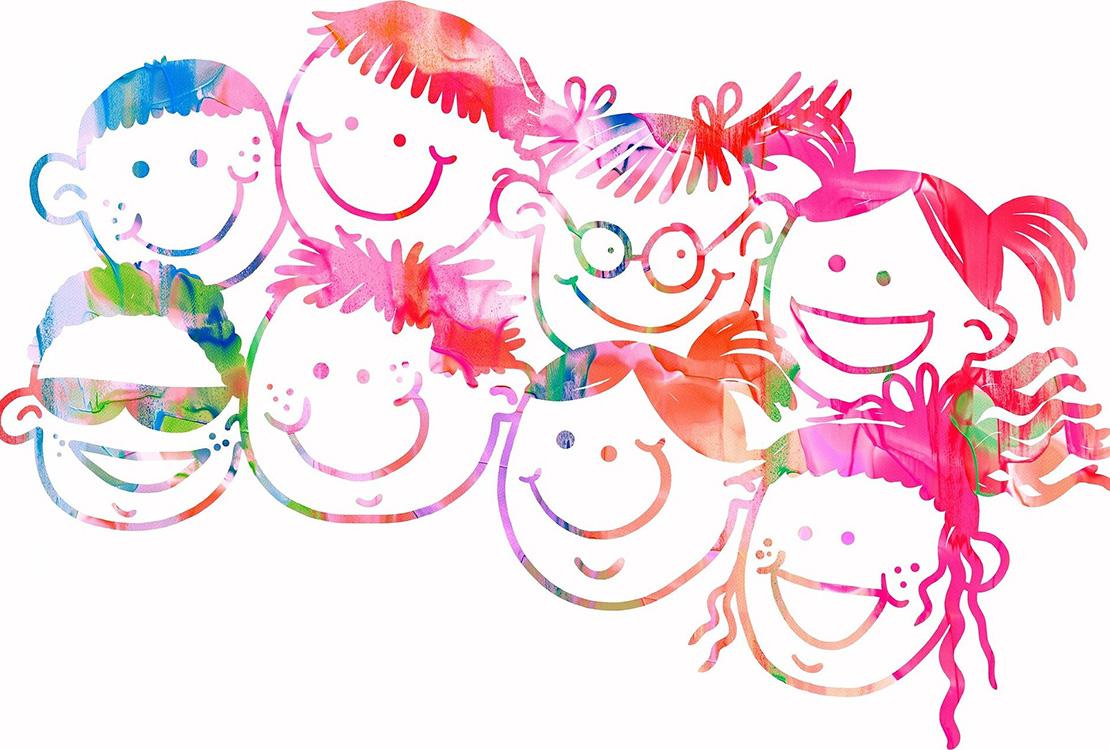 Värikäs piirroskuva iloisista lasten kasvoista.