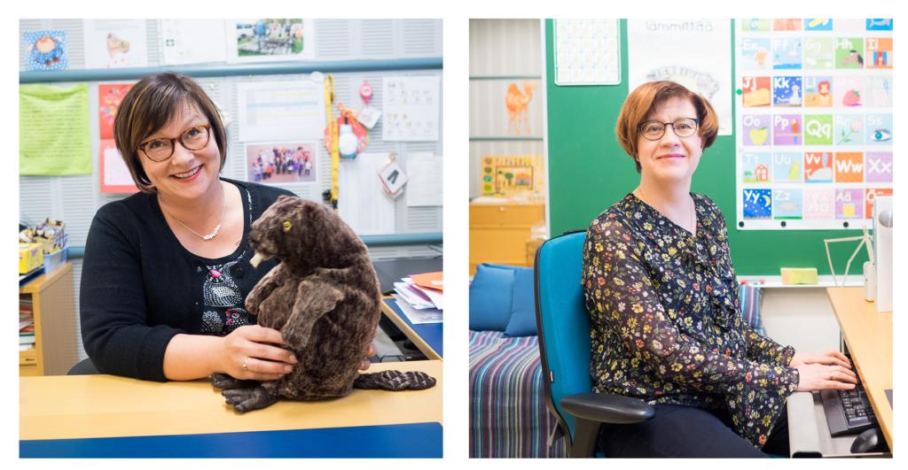 Puheterapeutit Päivi Jääskö ja Outi Paakkari istuvat työpöytiensä ääressä.