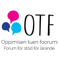 Oppimisen tuen foorumi -tapahtuman logo. Kuvassa vasemmalla kolme eriväristä puhekuplaa ja oikealla isoilla kirjaimilla OTF. Alla teksti Oppimisen tuen foorumi, Forum för stöd för lärande.