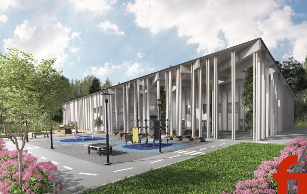 Valteri-koulu Mäntykankaan uudisrakennuksen havainnekuva